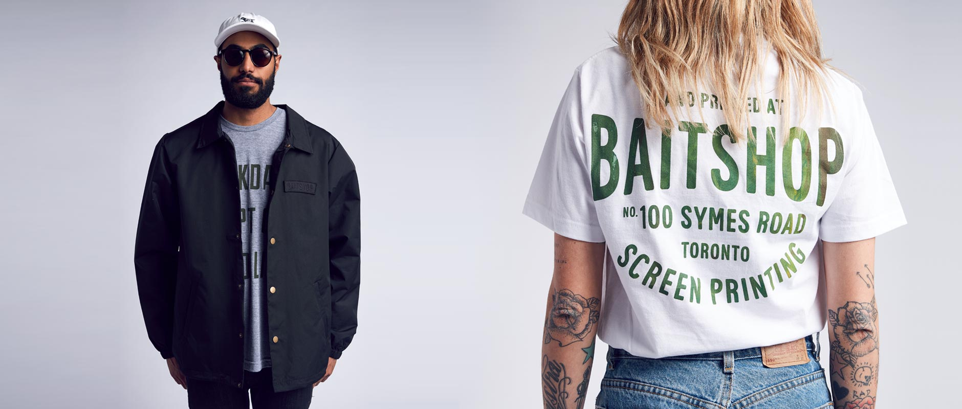 Male model on left with Baitshop Hunting Dad Hat and Coach Jacket, Female model on right with Stockyards sear sucker t-shirt
